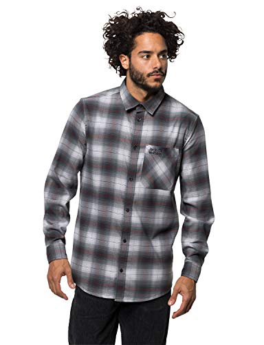 Jack Wolfskin Light Valley Shirt Homme, Ebony Checks, FR : 3XL (Taille Fabricant : XXXL)