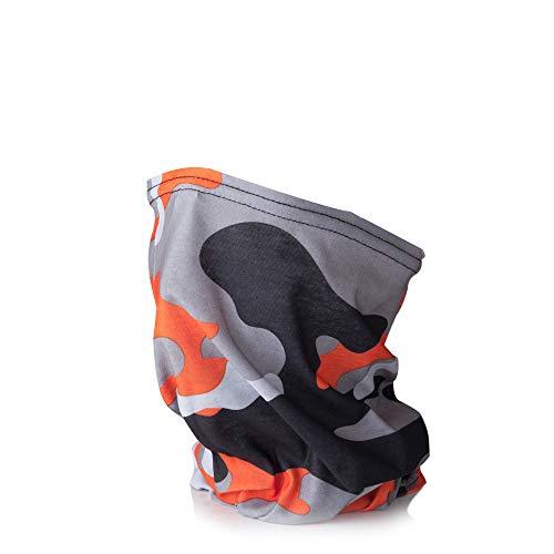 Tommy Humpisch - Scaldacollo multifunzione, unisex, per lo sport o la vita quotidiana, in diversi colori con bordo cucito. Camouflage arancione Taglia unica