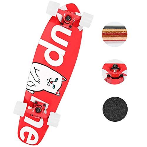 CNSTZX Complete Board Gezeitenmarke, Cruiser Komplett Board, Holzboard aus 7 Schichten Ahornholz, Bereits Fertig Montiert, Skateboard für Jugendliche, Erwachsene, Anfänger, Profis, Mädchen und Junge