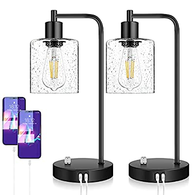 Set of 2 Fully Stepless Dimmable Industrial Table Lamps with 2 USB Ports & AC Outlet, Bedside Nightstand Desk Lamps with Seeded Glass Shades for Bedroom Dorm Living Room, 2 7W 2700K LED Bulbs Included