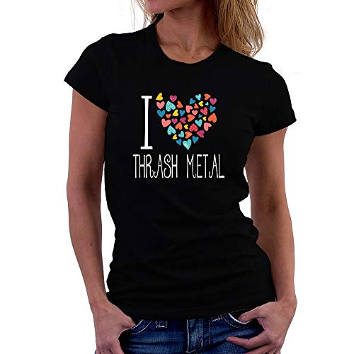 Teeburon I Love Thrash Metal Colorful Hearts Camiseta Mujer