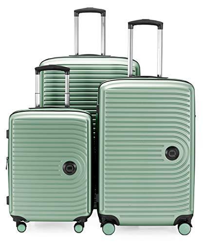 Hauptstadtkoffer - Mitte – 3er Kofferset - Kabinentrolley 55 cm, mittelgroßer Koffer 68 cm + großer Reisekoffer 77 cm, Hartschale ABS, TSA, Mint