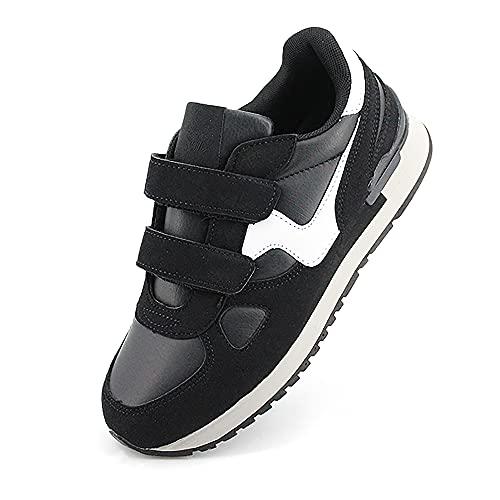 JOMIX Scarpe Casual Unisex Sneakers Uomo Sneakers Donna Scarpe Antiscivolo con Strappo Scarpe Uomo SU8138 (02 Nero-Bianco, 42)