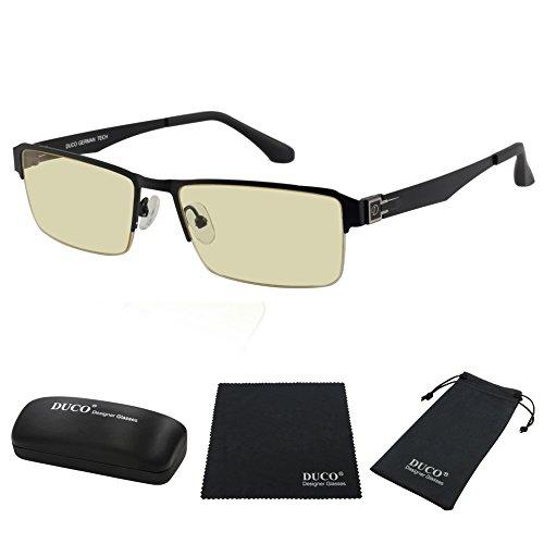 DUCO Blue Light Blocking Glasses Anti Eyestrain UV Filter Computer Game Eyeglasses Lightweight Frame 302