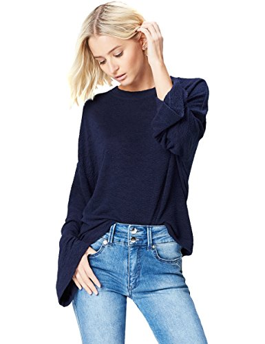 find. Damen Kastiges Sweatshirt mit Trompetenärmeln Blau (Navy), 36 (Herstellergröße: Small)