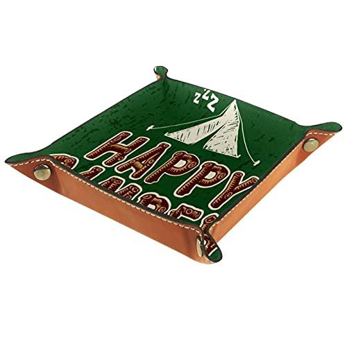 Organizador de canastas de cuero feliz campista camping vintage para la mesa de estar del escritorio del tocador