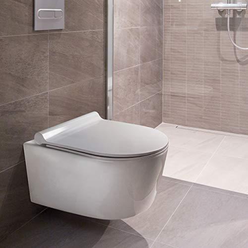VILSTEIN Design Toilette | Spülrandlos | Hänge WC Set | Inkl. abnehmbaren WC-Sitz und Absenkautomatik | 50 x 36 x 35 cm
