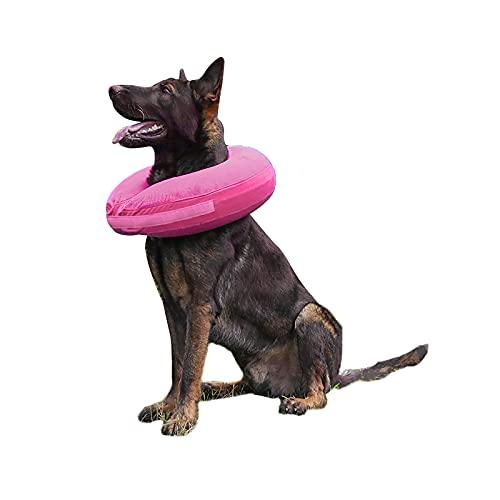 TT.WALK Aufblasbarer Hundekragen,Aufblasbares Halskrausen für Hunde,Schützender Aufblasbarer Kragen für Hunde und Katzen,Einstellbar Bequem Schutzkragen mit Klettverschluss (XL, Pink)