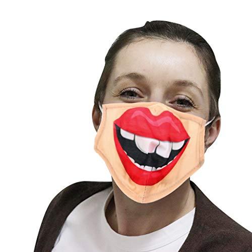LWWOG Adult Funny Face Covering 3D-Digitaldruck Waschbar Wiederverwendbar Einstellbar Steckbar Filter Staubdicht und Anti-Dunst Mehrschichtschutz Outdoor Sports Face Guard 1PC + 2PC Filter