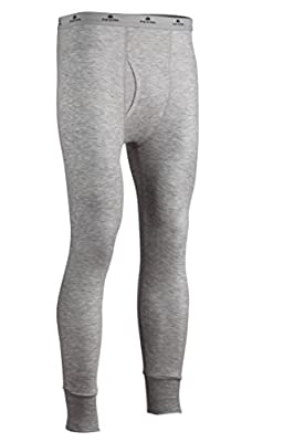Indera Men's Two-Layer Performance Thermal Underwear Pant with Silvadur, HeatherGrey, Large