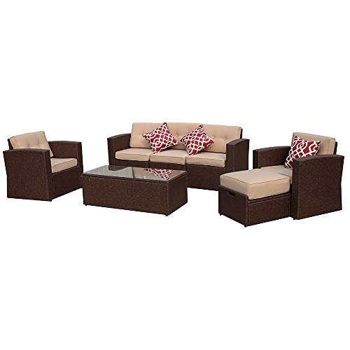 Super Patio Patio Furniture, 7 Pieces Outdoor Patio Furniture Set with Beige Seat and Back Cushions, Red Throw Pillows, Espresso Brown PE Wicker