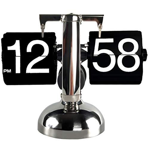 YGLCH Solo pie Retro Reloj de Mesa de Acero Inoxidable Flip Flip Engranaje Interno operación Flip Reloj de Mesa pequeño Reloj Fracaso