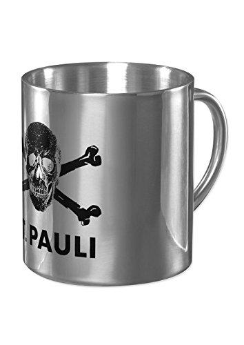 FC St. Pauli Edelstahl Totenkopf Tasse Kaffeebecher Mug (Silber, One Size)