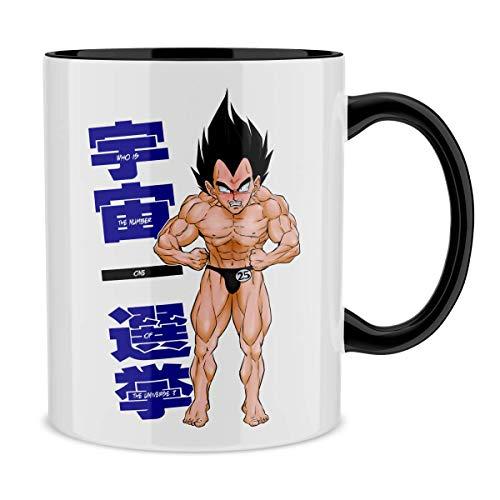Okiwoki Mug avec Anse et intérieur de Couleur (Noir) - Parodie Dragon Ball Z - DBZ - Végéta - Mister Univers Candidat N° 25 : (Mug de qualité supérieure - imprimé en France)