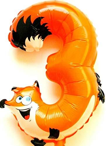 Kein Helium Ballon! Fuchs Tier Zahl 3 Folienballon Deko Geburtstag Zoo Party NEU