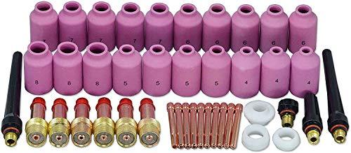 TIG lente de gas boquillas órganos alúmina boquilla Equipo Ajuste QQ300 zcp DB CK WP Sr 17 18 26 soldadura TIG linterna 43piezas