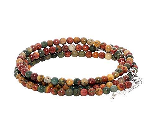 rainbow safety Pulsera Multicapa Collar para Mujer Cuentas de Piedras Naturales Ágata Amazonita Amatista Jaspe Granate BC (Rojo Creek Jaspe)