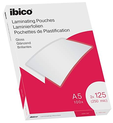 Ibico Láminas para Plastificar Tamaño A5, Acabado Brillante, 250 Micras, Pack de 100, Transparentes, 627315