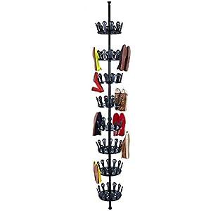 Tatkraft Jo Zapatero Giratorio Extensible con Capacidad para 48 Pares, Carrusel Ajustable para Almacenamiento de Zapatos, se Adapta a la Altura del Techo
