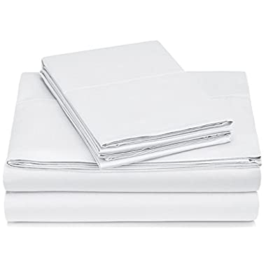 Pinzon 400-Thread-Count Egyptian Cotton Sateen Hemstitch Sheet Set - Cal King, White