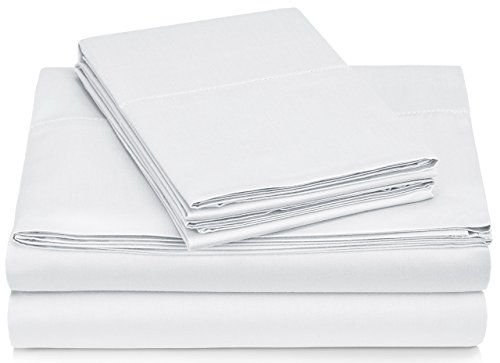 Pinzon 400 Thread Count Egyptian Cotton Sateen Hemstitch Sheet Set - Queen, White