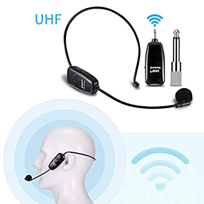 Wireless Microphone Headset UHF, EXJOY Headworn Mic and Handheld Vocal Mic 2 in 1, Rechargeable, for Tour Guides, Voice Amplifier, Teaching, Coach, Meeting, etc
