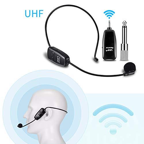 Micrófono inalámbrico con auriculares 2 en 1, EXJOY del micrófono inalámbrico UHF de 60 m con transmisión estable, para amplificador de voz, para conferencia/escenario/enseñanza/guía/turismo
