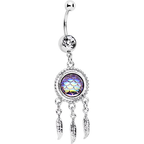 Body Candy Steel Clear Accent Aurora Mermaid Scale Feather Dreamcatcher Dangle Belly Ring