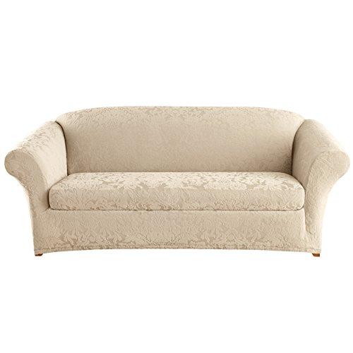 SureFit Stretch Jacquard Damask 2-Piece - Sofa Slipcover - Oyster (SF40157)