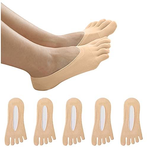 WSFD DUTYLOVE Calcetines Tobilleros Transpirable invisible 5 pares Mujeres Cinco dedos del pie Tobillo Transatlántico Antideslizante Anti fricción Malla Respirable Calcetines (Beige)