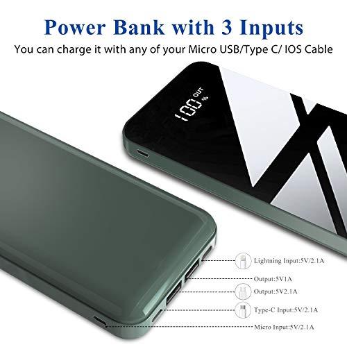 Todamay Powerbank 26800mAh Externer Akku Mit LCD Digital Display Hoher Kapazität Tragbares Ladegerät 3 Eingängen 2 Ausgängen Akku Pack für Handy, Tablet und Mehr USB-Gerät