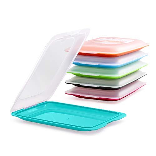 Hochwertige Aufschnitt-Boxen 6er Set platzsparend stapelbar (Stapelboxen) / Vorratsdosen-Set für Aufschnitt mit integrierter Servierplatte. Foodcenter Frischhaltedosen für den Kühlschrank