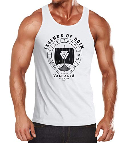 Neverless® Herren Tanktop Legends of Odin Valhalla Vinkings Wikinger Muskelshirt Muscle Shirt Slim Fit weiß XL