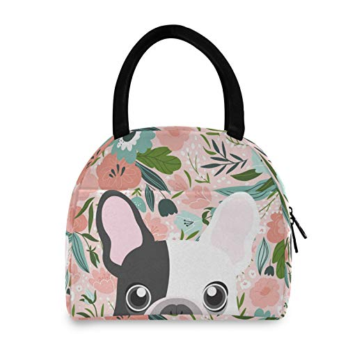 YiGee French Bulldog Floral Dog Lunch Bag Tote Bag, Insulated Organizer Zippered Lunch Box Lunchbox Lunch Container Handbag for Women Men Home Office Picnic Beach Use
