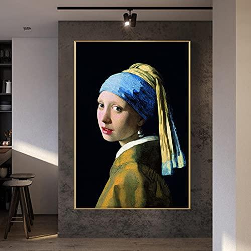 Pintura famosa La niña con un pendiente de perla de Jan Vermeer Reproducciones de arte de retratos clásicos Lienzos Carteles Impresos 30x70 cm (12'x 27') Sin marco