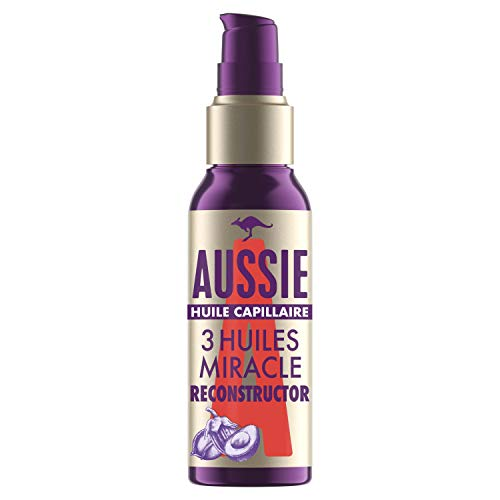 Aussie, 3Miracle Oil Reconstructor À L'Huile De Noix De Macadamia D'Australie, Huile De Graine De Jojoba D'Australie et Huile D'Avocat, Répare et Lisse vos Cheveux, 100ml