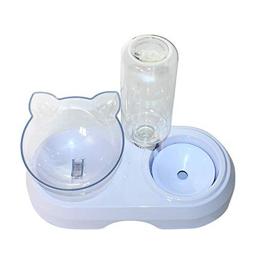2 in 1 Comedero y Bebedero Automático para Gatos y Perros Dispensador de Agua Pequeño Gato Comedero De Agua para Mascotas Comedero de Perros Gatos (2EN1)