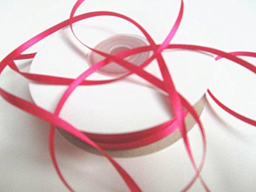 CaPiSo 100m Satinband 3mm Schleifenband,Geschenkband,Dekoband,Satin Hochzeit,Weihnachten (Fuchsia, 100m 3mm)