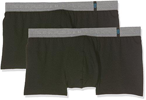 Schiesser Herren Boxershorts 95/5 Shorts, 2er Pack, Schwarz (Schwarz 000), M (Herstellergröße: 5)