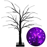 2FT Lighted Black Halloween Tree for Tabletop, Upgraded Spooky Tree with 24 LED Purple Lights, Battery Operated Halloween Tree with Lights Halloween Decorations Clearance