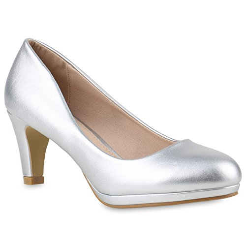 Damen Klassische Pumps Stilettos Leder-Optik Elegante Schuhe 145099 Silber 36 Flandell