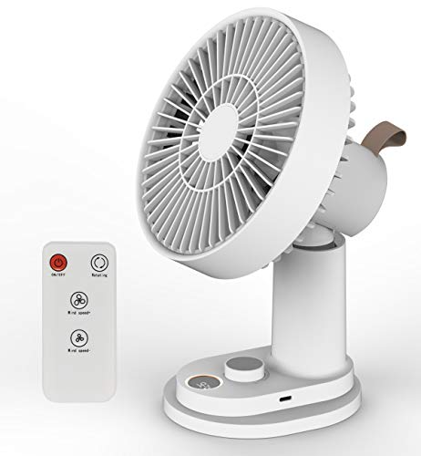 Portable Rechargeable Clip on Fan with Remote Auto Oscillating Super Quiet USB Desk Fan 6 Inch 4000mAh Battery Operated Personal Fan 15hrs Long Lasting 19 Speeds Super Strong Airflow Ideal for Golf Cart Gym Camping Travel Home Office (White)