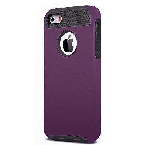 Ailun Case for iPhone 5s iPhone Se(2016) iPhone 5 Soft TPU Bumper Hard Shell Solid PC Back Shock Absorption Hybrid Dual Layer Slim Cover Purple