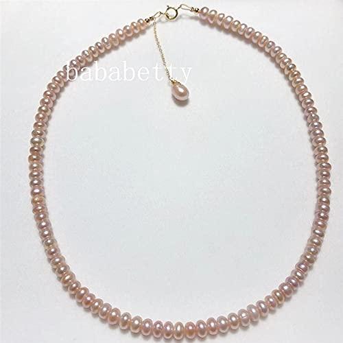 Rongxin Perlas naturales de agua dulce, pequeñas perlas irregulares, elegante y simple cadena de clavícula, collar de plata de ley 925 con hebilla (color de la gema: fucsia, longitud: 40 cm)