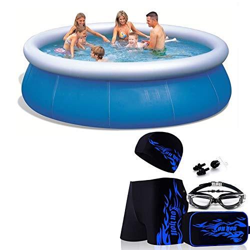 Rindasr Buiten achtertuin groot opblaasbaar zwembad, volwassen kinderen ouder-kind interactief entertainment zwembad, 77.9-inch blauw rond draagbaar zwembad (met elektrische pomp + badmode set)