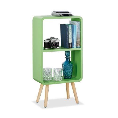 Relaxdays boekenkast met 2 vakken, smalle MDF boekenkast zonder schuifladen, woonkamer plank met houten poten, groen