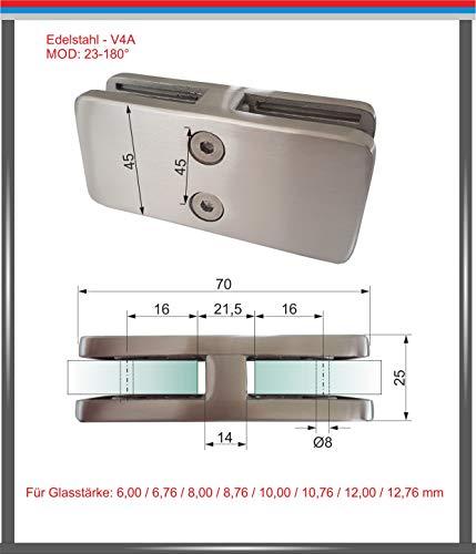 PMC Edelstahl Inox V4A Glashalter Verbinder Glasklemme Glass Clamp 180° Verbinder Eckige form MOD:23 (8,00 mm)