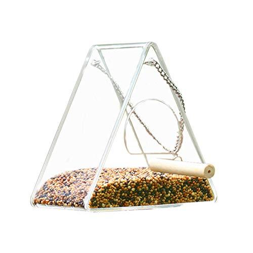 adfafw Alimentador De Acrílico para Pájaros Caja De Comida con Comedero Anti-dispersión De Loro con Soporte