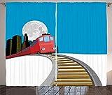 ABAKUHAUS Vías de Tren Cortinas, Rascacielos Luna Llena, Sala de Estar Dormitorio Cortinas Ventana Set de Dos Paños, 280 x 245 cm, Multicolor