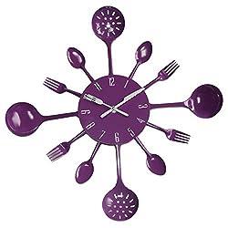 BJGCWY Cutlery Metal Kitchen Wall Clock Spoon Fork Creative Quartz Wall Mounted Clocks Modern Design Decorative Watch Murale 9 Colors 16 inch Purple